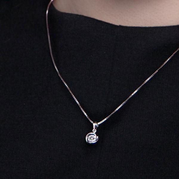 漩渦璀鑽 純銀 女款項鍊飾品