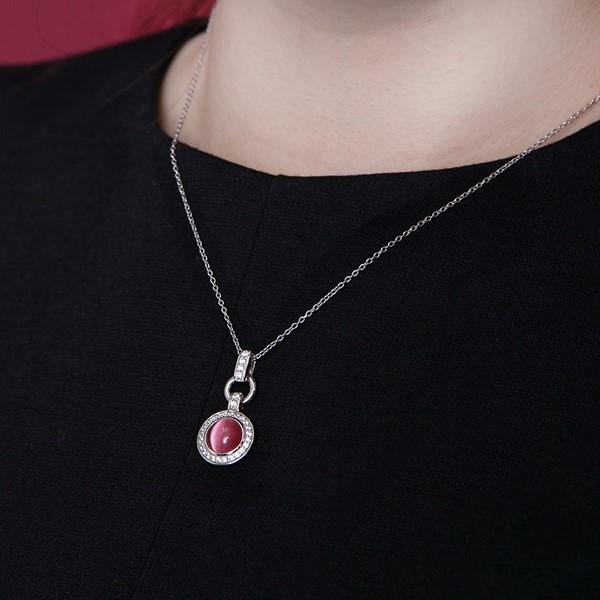 紅蛋白石奢華 純銀 女款項鍊飾品
