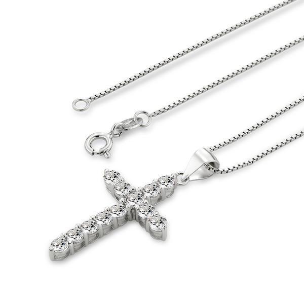 祈望十字架滿鑽 純銀 女款項鍊飾品