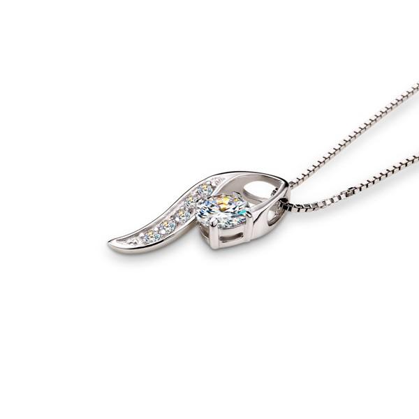 葉瓣簍空美鑽 純銀 女款項鍊飾品