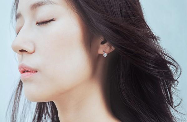 典雅環狀美鑽純銀耳環/一對販售