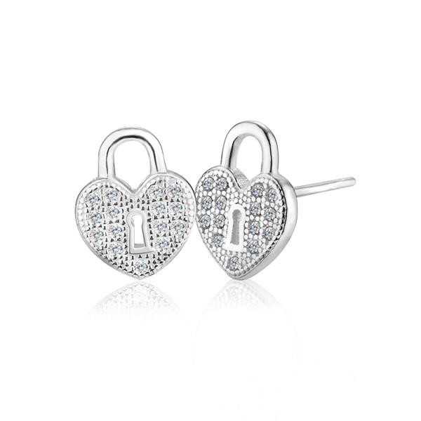 愛心鑰匙鎖耳環/一對販售
