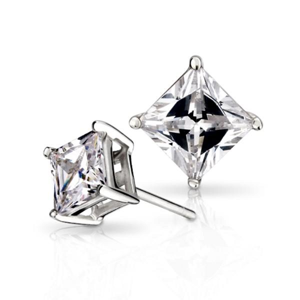 方晶鋯石一對販售 純銀 男/女款耳環飾品