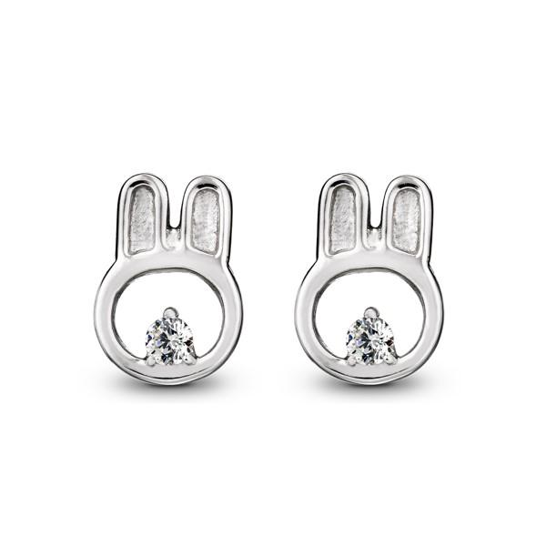 可愛比菲兔動物姊妹 純銀 女款耳環飾品