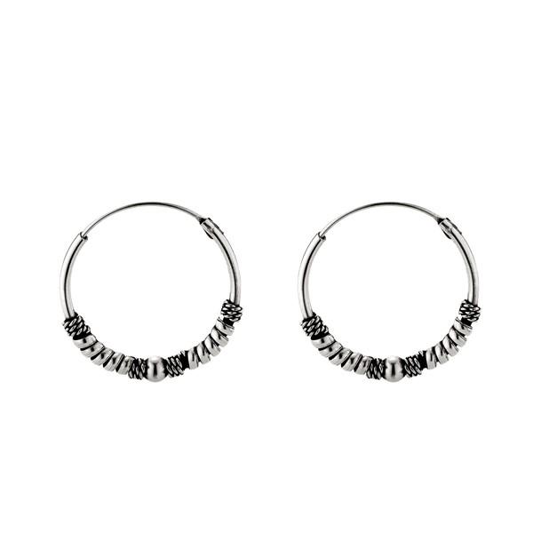 大器交織單珠麻花硫化一對販售 純銀 女款耳環飾品