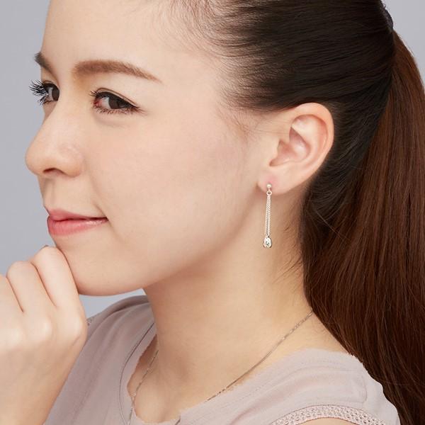 水之結晶體造型 純銀 女款耳環飾品