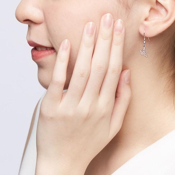 祈福紙鶴 純銀 女款耳環飾品