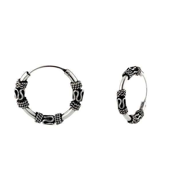 個性掐絲麻花硫化一對販售 純銀 男款耳環飾品