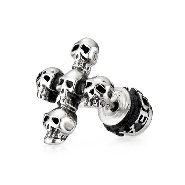 骷顱十字單隻販售 純銀 男款耳環飾品