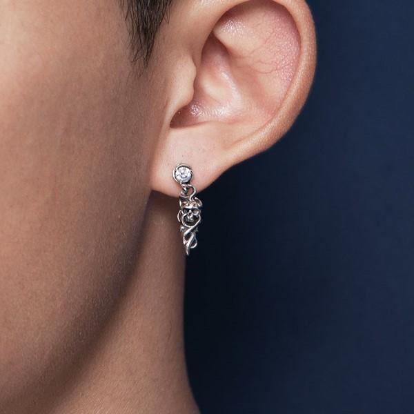 骷髏單隻販售 純銀 男款耳環飾品