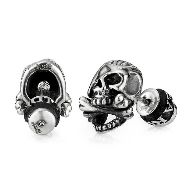 海盜骷髏單隻販售 純銀 男款耳環飾品