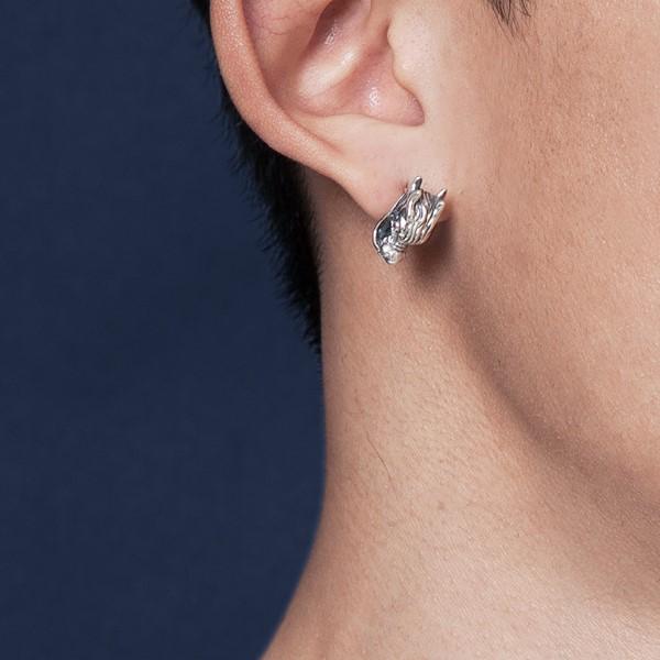 經典龍頭單隻販售 純銀 男款耳環飾品