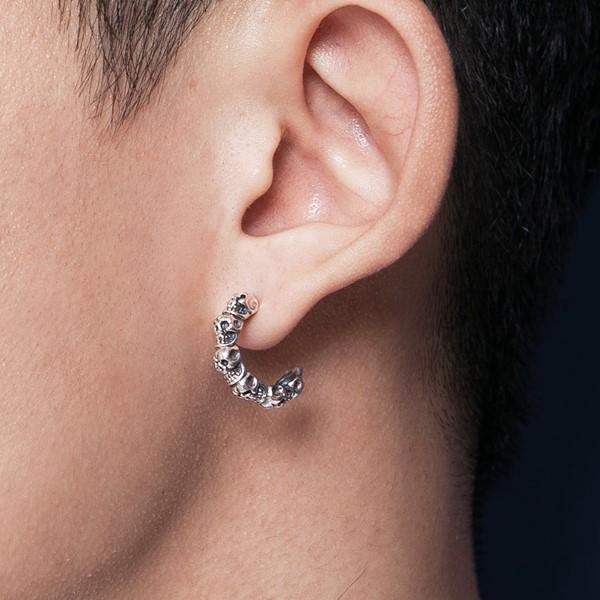 骷髏率性單隻販售 純銀 男款耳環飾品