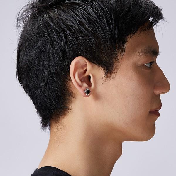 爪扣方形單隻販售 純銀 男款耳環飾品