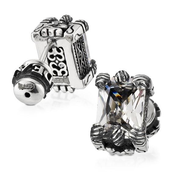 龍爪方鑽單隻販售 純銀 男款耳環飾品