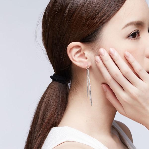 優雅型態垂墜造型 純銀 女款耳環飾品