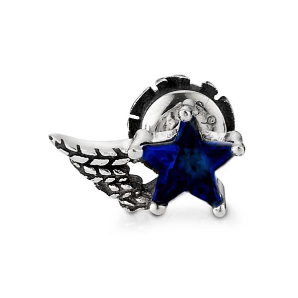 星星之翼單鑽單隻販售 純銀 男款耳環飾品