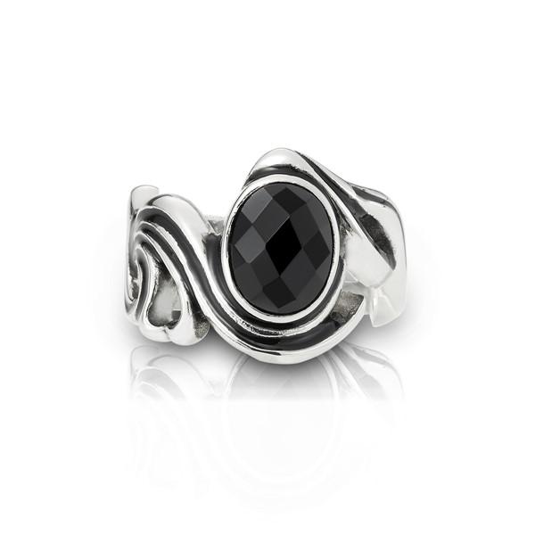 復古菱格紋黑瑪瑙 西德鋼 男款戒指飾品