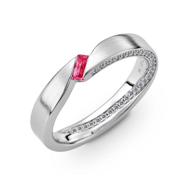 愛情永固 含蓄純銀/寶石 男款結婚對戒