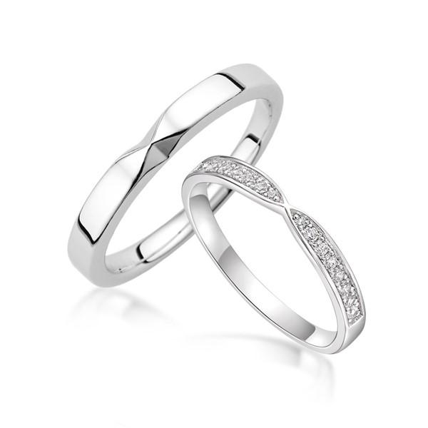 純白愛戀 寶石結婚套戒(三件組)