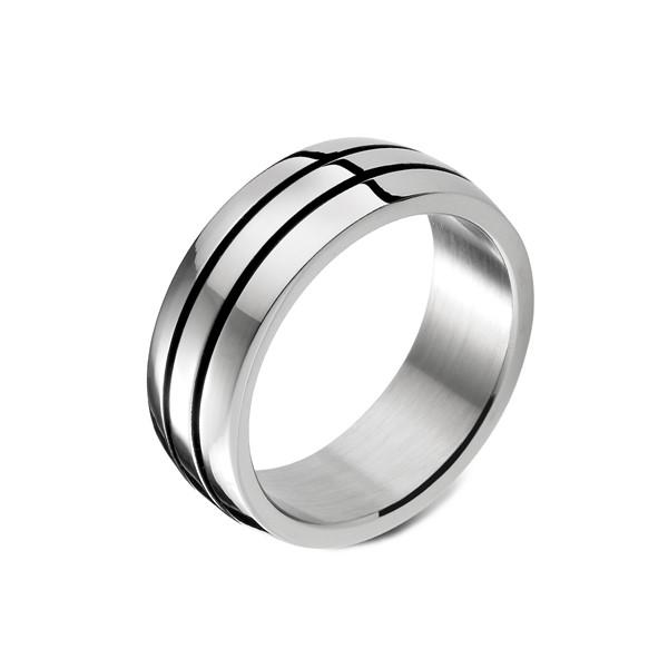 黑色雙層線條戒指