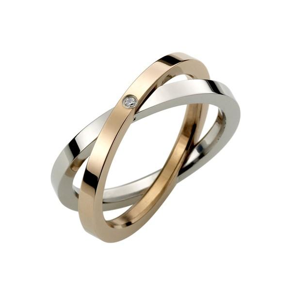 交錯雙環戒指