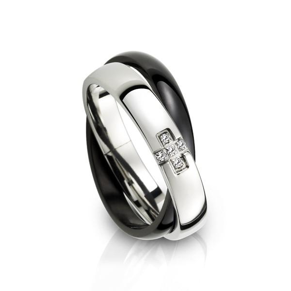 十字雙環 西德鋼 男款戒指飾品