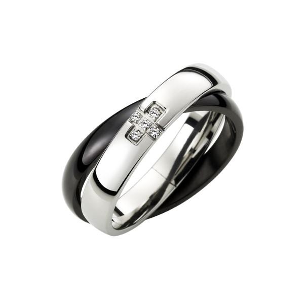 十字雙環情侶戒指-男