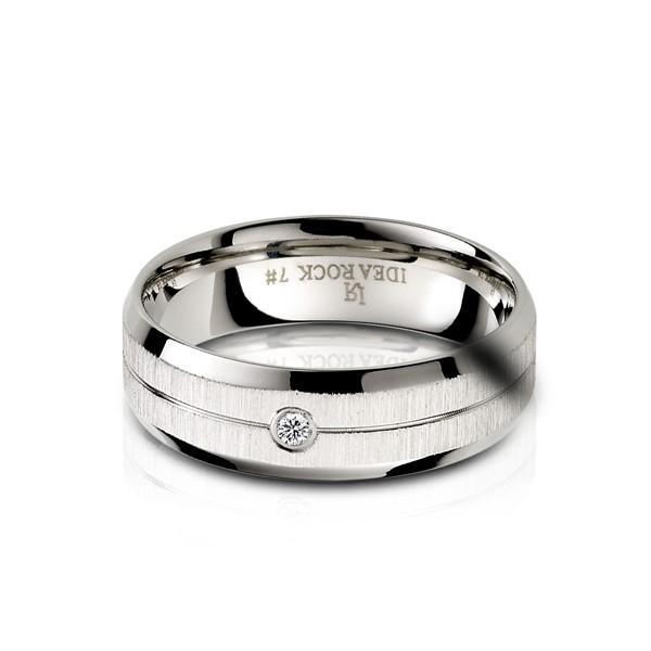 低調成癮鑲單鑽 西德鋼 男款戒指飾品