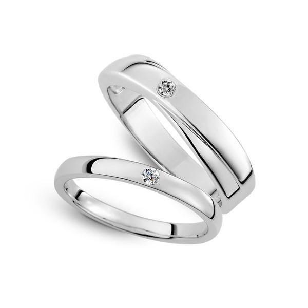 幸福時光 鉑金(白金)鑽石結婚對戒