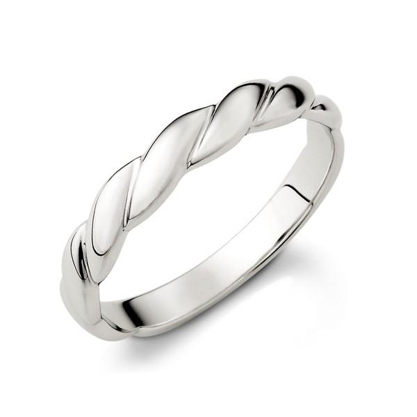 愛交織捲花設計感白金結婚對戒/一對販售