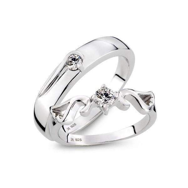 堅強翅膀單鑽 鉑金(白金)鑽石結婚對戒