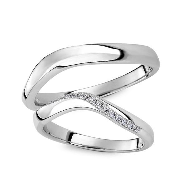 永恆的軌跡 鉑金(白金)鑽石結婚對戒