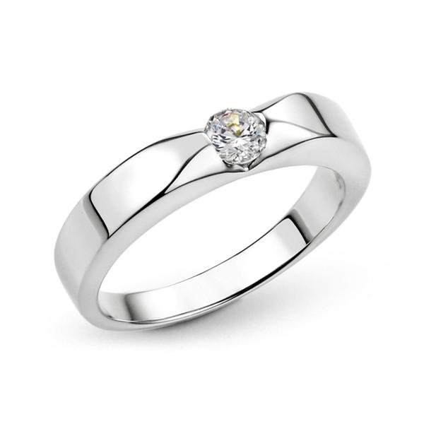 典雅單鑽切面白金結婚對戒/一對販售