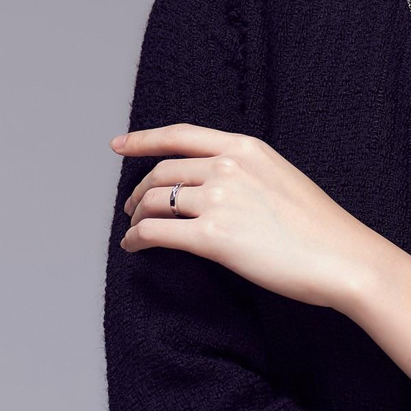 典雅單鑽切面 鉑金(白金)鑽石結婚對戒