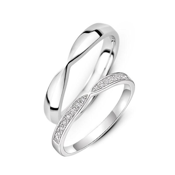 情有獨鍾 鉑金(白金)鑽石結婚對戒