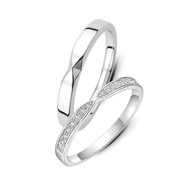 純白愛戀 鉑金(白金)鑽石結婚對戒