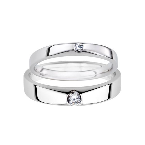 長相廝守 鉑金(白金)鑽石結婚對戒