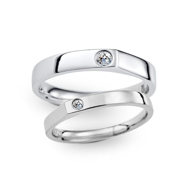 珍愛曙光 鉑金(白金)鑽石結婚對戒