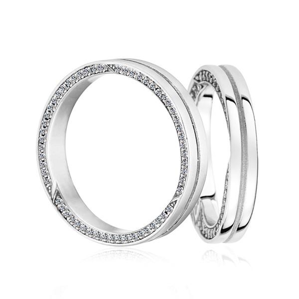 含蓄幸福時刻 鉑金 (白金) 鑽石結婚對戒