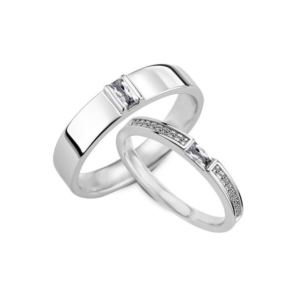 幸福守候 鉑金(白金) 鑽石結婚對戒