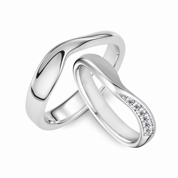 愛的禮物 鉑金(白金)鑽石結婚對戒