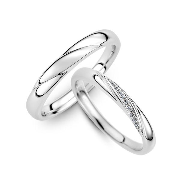 纏綿的愛 鉑金(白金)鑽石結婚對戒