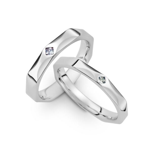 愛的練習題 鉑金(白金)鑽石結婚對戒