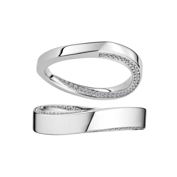 含蓄愛不止息 鉑金(白金)鑽石結婚對戒