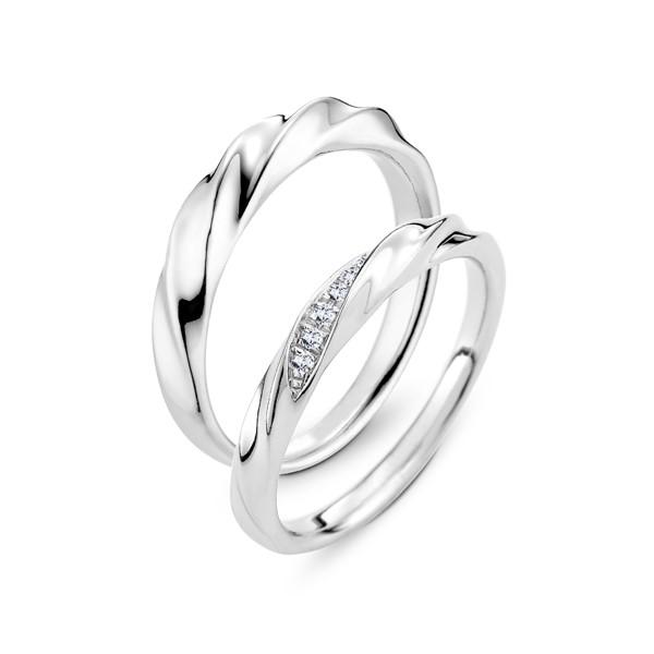 扭轉愛情 鉑金(白金)鑽石結婚對戒