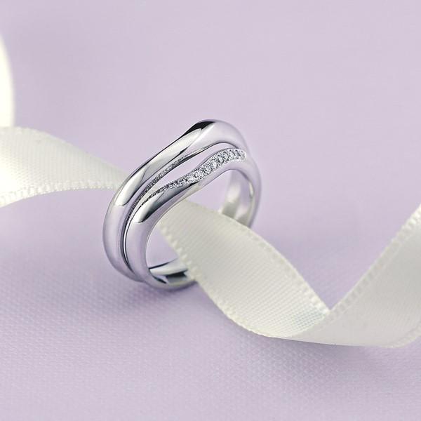 永恆的軌跡 - 白金結婚對戒-男
