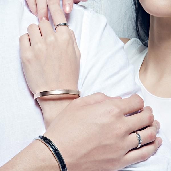 真實擁抱單鑽白金結婚對戒-男