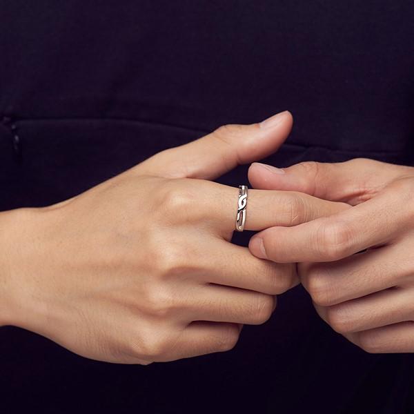 交織的愛白金結婚對戒-男