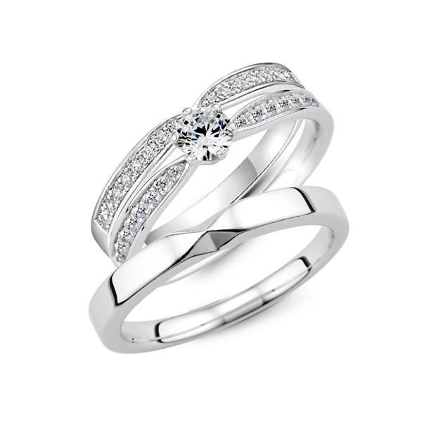 純白愛戀 鉑金(白金)鑽石結婚套戒(三件組)